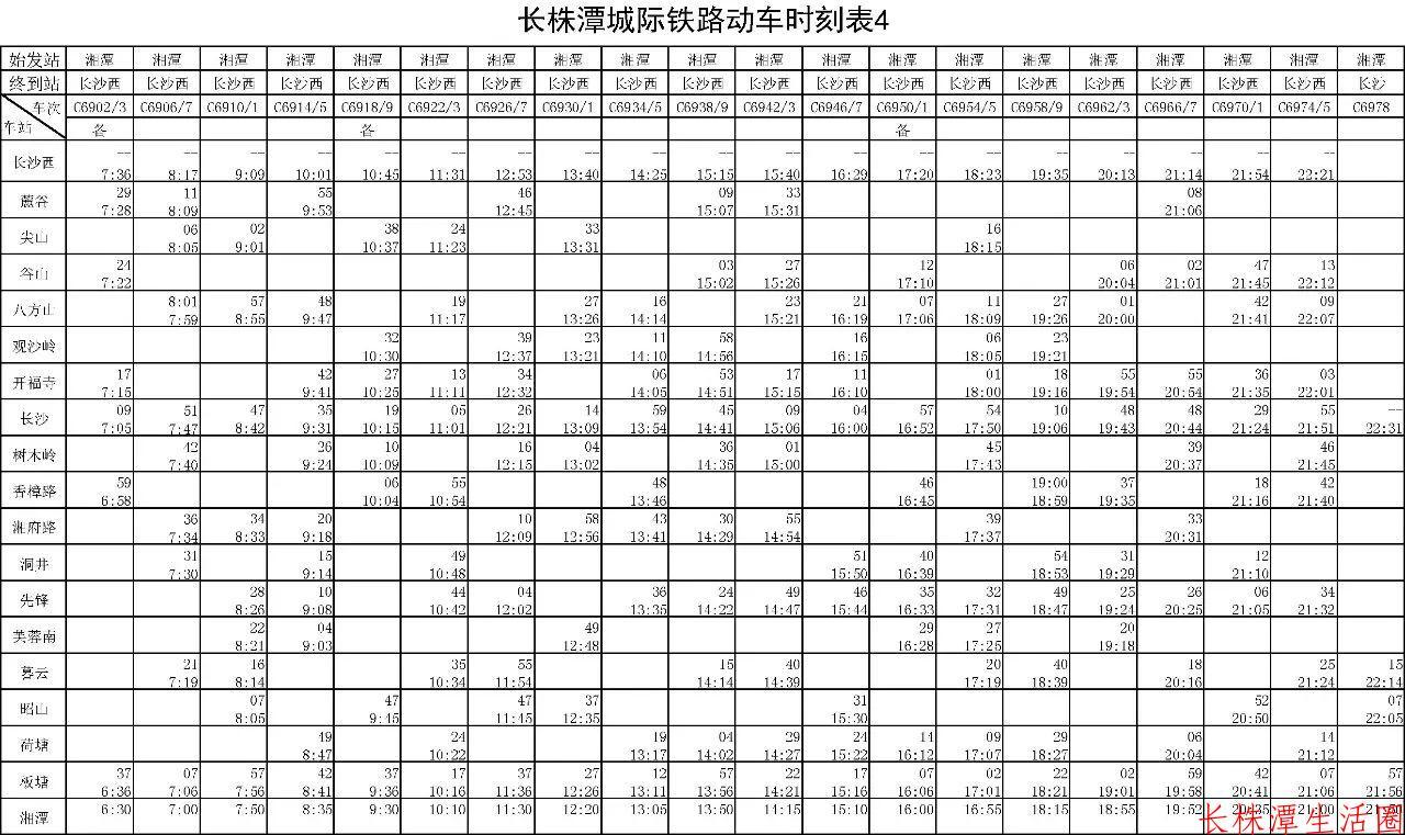 长株潭城铁列车时刻表