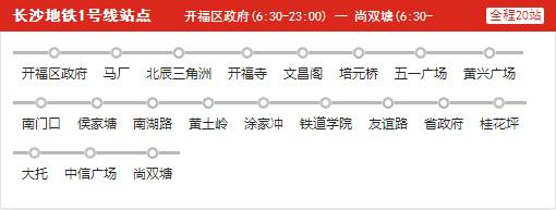 长沙地铁1号线线路图【附地铁1号线各站点时刻表】